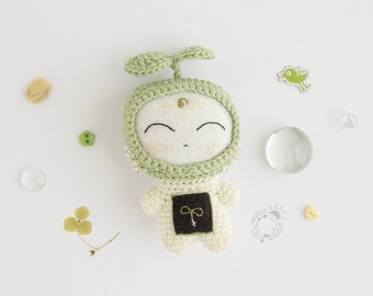 Sprout, April - The Space Travellers Months series - handmade crocheted amigurumi plush little toy