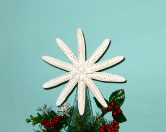 Starfish Tree Topper - available Natural, with Crystals or Clear Glitter - Beach Christmas Beach Ornaments Tree Topper Star Fish Coastal