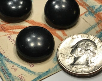 3 acrylic black Vintage shank Buttons, 3/4 inch (45)