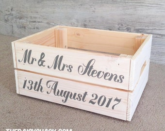 Small Wood Crate, personalised, rustic crate, rustic box, wedding box, cards, gifts
