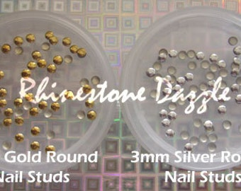 3mm gold round studs, 3mm silver round studs, nail art studs, 3D nails, nail decoration, 3mm circle nail studs, 3mm nail studs, nail art