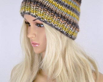 Knit Hat, Slouchy Hat, Winter Hat, Beanie Hat, Colorful Hat, Fall Hat, Slouchy Beanie Hat