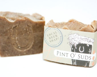 "Cold Process Vegan Beer Soap, ""Pint O' Suds"" soap, Handmade, Victoria BC, Vancouver Island"