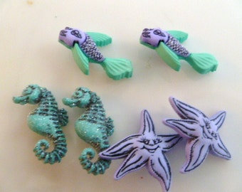 Earrings Mix and Match Collection Set of Three Pairs Fish Starfish and Seahorse