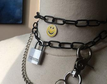 Swirly Hurty Chain Padlock Choker