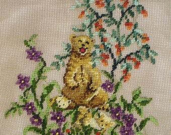 Bear Preworked Needlepoint Canvas, Bear family Needlepoint Chair Cover Mama Bear and Cubs