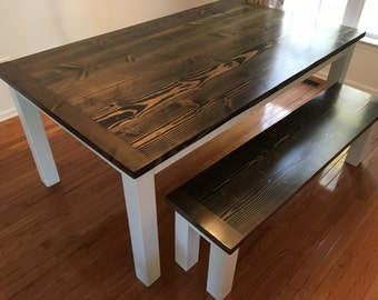 Farmhouse Dining Table or Kitchen Table with Breadboard Ends, Wood