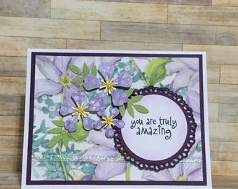 Handmade greeting card, thank you card, occasion card, just for you card, purple, handmade flowers