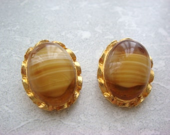 Faux Agate Glass Clip On Earrings