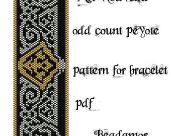 Peyote Pattern for bracelet: Art Nouveau- INSTANT DOWNLOAD pdf