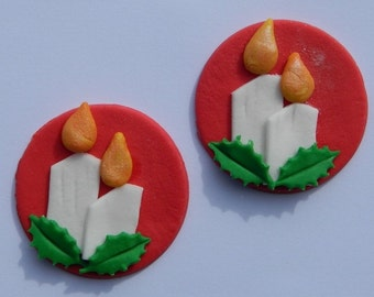 12 edible CHRISTMAS CANDLES with HOLLY discs cake cupcake decoration novelty topper cute gift xmas party birthday holiday cookie