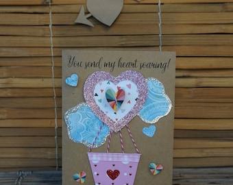 Love Card – Handmade Card – Birthday Card – Anniversary Card – Romantic Card – Anytime Card – You Send MY Heart Soaring Love Card