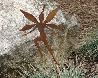 Rusty FAIRY GARDEN STAKE Yard Decor Lawn Ornament Metal