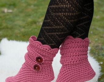 Crochet French Rose Slipper Boots