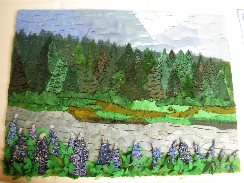 Collages de paisaje singular tejido hechos por encargo