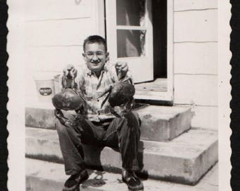 Vintage Snapshot Photo Man Poses with Freshly Caught Crabs 1940's, Original Found Photo, Vernacular Photography
