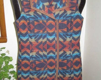 "Pendleton Blanket VEST, Size Small, Virgin Wool, 32"" Long, Dry Clean"