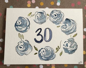 Homemade 30th Birthday Card, Hand Painted 30th Birthday Card, Watercolor 30th Birthday Card