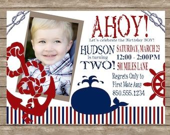 AHOY Matey Boy's Nautical Birthday Party Invitation
