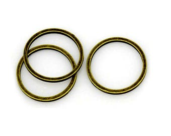 set of 10 copper closed rings bronze 12 mm