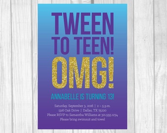 SALE Custom Printable 5x7 Tween To Teen Girl's 13th Thirteen Birthday Party Invitation - Purple, Aqua and Gold Glitter - Digital Download
