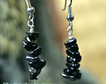 Black Stone Single Strand Earring