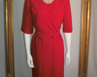 Vintage 1950's R & K Originals Fuchsia Day Dress - Size 10