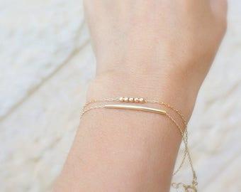 Dainty Gold Bracelet - Gold fill Bar Bracelet, Simple Gold Bracelet, Minimal Jewelry, Modern Bracelet, Bracelets For Women