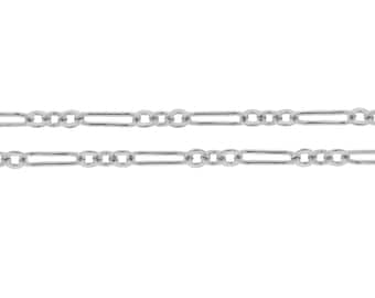 Sterling Silver 7x2mm Flat Long and Short Chain - 5ft (2375-5)/1