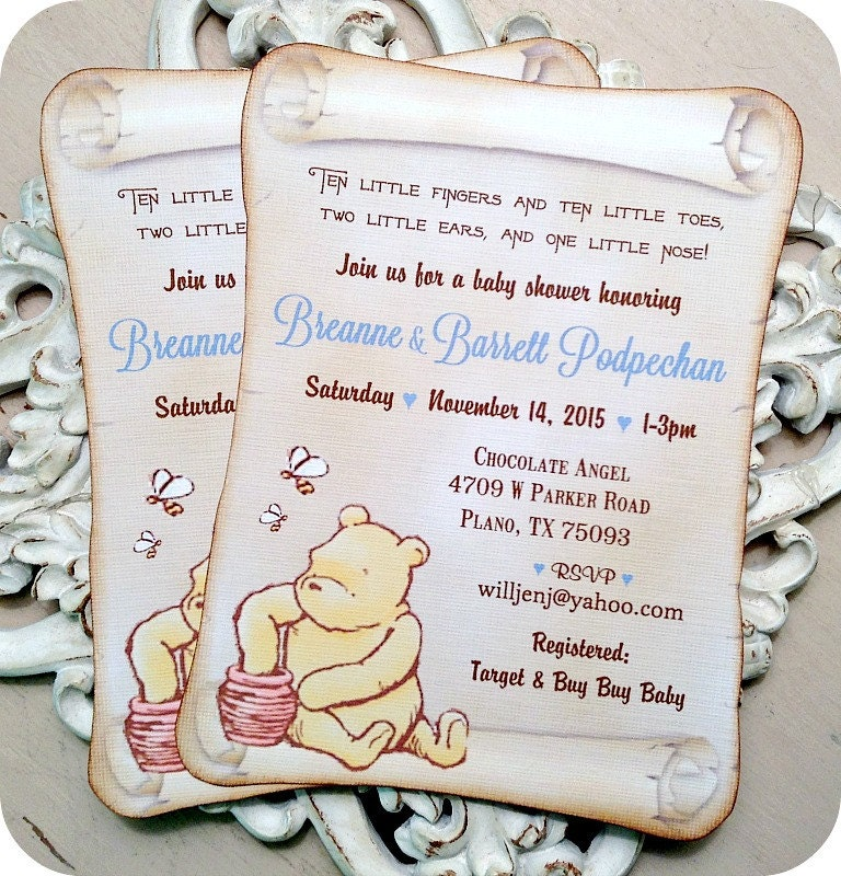 Classic Winnie the Pooh Baby Shower Invitations 10 Classic