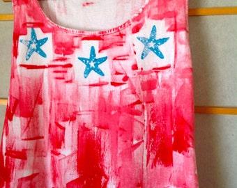 Cotton Summer Dress Hand Painted Dress Hawaii Kauai Dress Plus Size Cover Up Beach Dress