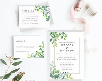 Modern Greenery Wedding Invitation Suite, Wedding Invitation Printable, Invitation Set, Invitation Rustic, Letter or A4(Item code: P1022)