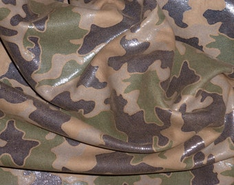 "Leather 5""x11"" CAMO Dark Brown and Khaki Olive Green on BROWN Cowhide #151  2.5 oz / 1 mm PeggySueAlso™ E2030-05"