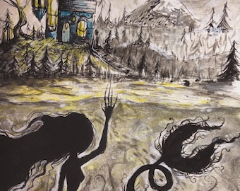 Haunted original pen and ink drawing and Watercolor painting