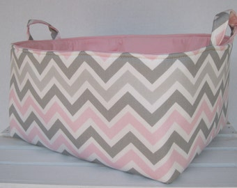 Pink/ Gray Zoom Zoom Chevron - Diaper Caddy - Storage Container Organizer Bin Basket  -  Nursery Baby Room Decor