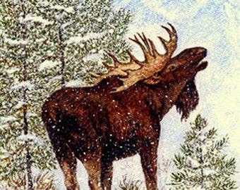 CHRISTMAS CARD, Moose, Snow, Trees, Merry Christmas Card, Bull Moose, Cabin Decor, Lodge Decor, moose decor