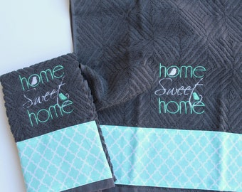 Teal and Gray kitchen decor, Kitchen towel set, Tea towel set, Embroidered towels, *ready to ship*