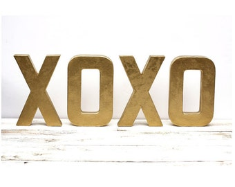 XOXO Letters Metallic Gold 8 inch  - As Seen In BETTER HOMES and Gardens Magazine