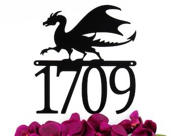Dragon Outdoor Metal House Number Sign - Black, 12x12.75, Custom Sign, Address Plaque, Outdoor Sign, Metal House Number
