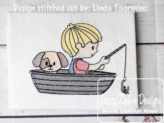 Boy and his dog fishing in a boat sketch embroidery design - boy embroidery design - fishing embroidery design - dog embroidery design -boat