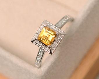 Citrine ring, square cut ring, natural citrine, yellow quartz ring