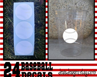 24 baseball vinyl decals athelete sports party Birthday party decoration sports balls birthday party vinyl cup sticker party cup stickers