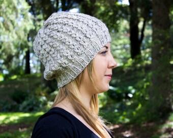Heather Cream Slouchy Knit Hat - Cream Vegan Hat - Boho Hat - Hipster Hat - Hippie Hat - Womens Tam - Mens Beanie - Unisex Hat