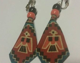 Vintage Southwestern Earrings Tribal Pattern