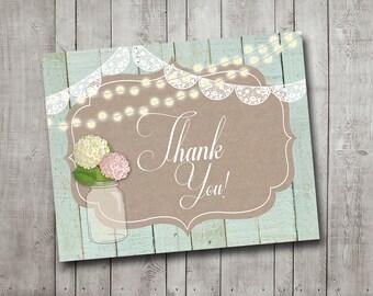 Bridal Shower Rustic Thank You Card Vintage Flowers Mason Jar Mint Wood String Lights Printable Instant Download
