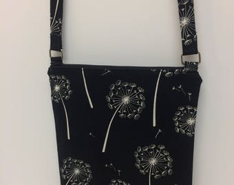 Black and White Dandelions Crossbody Purse