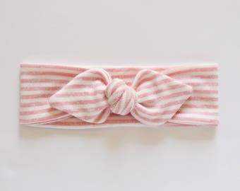 Baby Pink Headband, Baby Headwrap Bow, Mommy and Me, Pink Baby Headwrap, Knotted Headband, Adult Knot Headband, Baby Shower Gift, Baby Girl