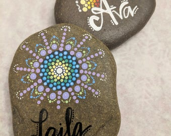 Personalized Hand Made Mandala Stones | Customizable to any name/word!
