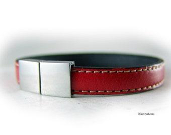 Lederarmband rot silber Edelstahl - Leder Armband - Geschenk für Sie für Ihn für Pärchen - Ehefrau Freundin Schwester Eheman Freund Bruder