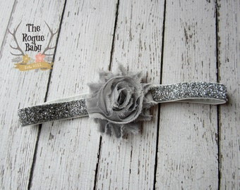 Silver Gray Baby Headband Glitter - Chiffon Flower- Newborn Baby Infant- Photo Prop Bling Hair band